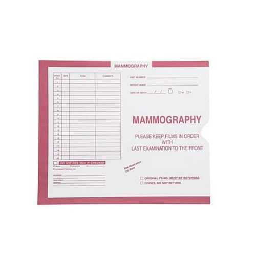 """""""Mammography"""" Category Insert Jackets - Pink - Open End, 250/bx"""