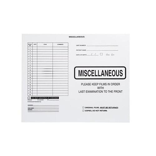 """Miscellaneous"" - Category Insert Jacket - No Border - Black Imprint -System I, Open Top - 14-1/4"" x 17-1/2"" (Carton of 250)"