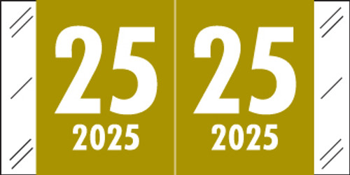 "2025 Year Label - Col'R'Tab - 3/4"" x 1-1/2"" - Gold - Laminated - 500/Roll"