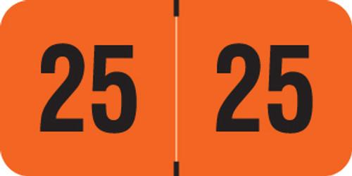 "2025 Year Label - Traco - 3/4"" x 1-1/2"" - Orange - Laminated - 500/Roll"