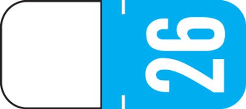 "2026 Year Label - TAB  - For Top Tab Application - 1/2"" x 1-1/8"" - Light Blue - Vinyl - 500/Roll"