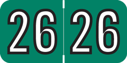 "2026 Year Label - Barkley - 3/4"" x 1-1/2"" - Green - Laminated - 500/Roll"