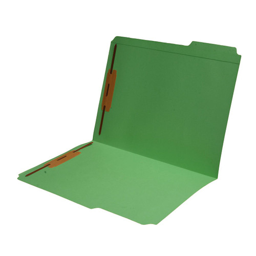 Top Tab Green Colored File Folder, Letter Size, 1/3 Cut Assorted Tab Positions, 2 Bonded Fasteners in Positions 1 & 3