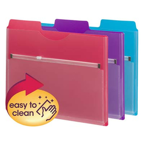 """Poly Project Organizer with Zip Pouch -  1/3- Cut Tab, Letter Size 11-3/4"""" W x 10"""" H -, Assorted Colors, 30 Per Carton (89617)"""