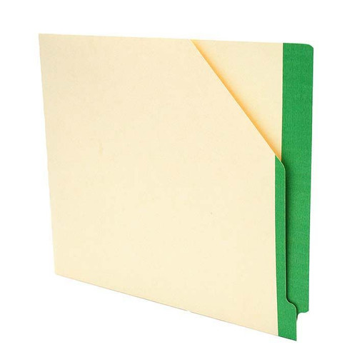 """Manila Pockets with GREEN Color Stripe - Closed on 2 Sides - Letter Size 11-3/4"""" W x 9-1/2"""" H -100/Box"""