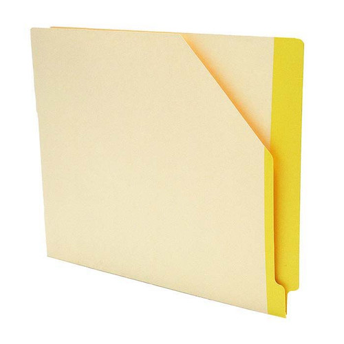 """Manila Pockets with YELLOW Color Stripe - Closed on 2 Sides - Letter Size 11-3/4"""" W x 9-1/2"""" H -100/Box"""