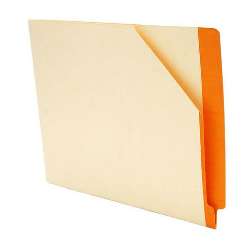 """Manila Pockets with ORANGE Color Stripe - Closed on 2 Sides - Letter Size 11-3/4"""" W x 9-1/2"""" H -100/Box"""