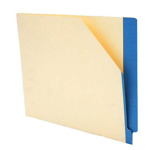 """Manila Pockets with BLUE Color Stripe - Closed on 2 Sides - Letter Size 11-3/4"""" W x 9-1/2"""" H -100/Box"""