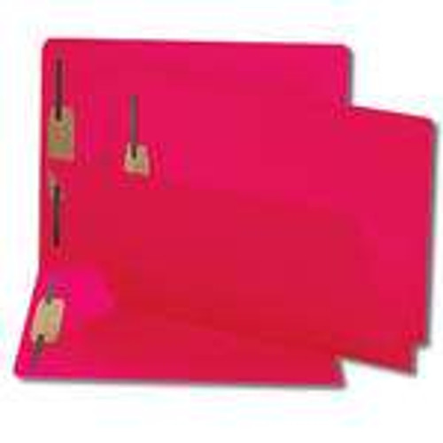 End Tab File Folder With Fasteners - Position 1 and 3 - Red - Letter Size - 14 pt - Reinforced Tab - Full End Tab