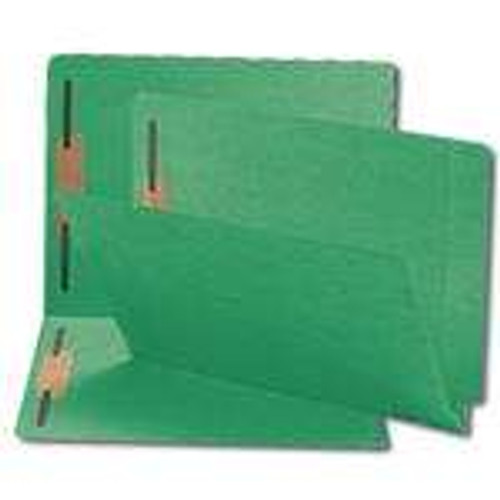 Smead Compatible End Tab File Folder With Fasteners in Position 1 and 3 - Green - Letter Size - 14 pt - Reinforced Tab - Full End Tab - 50/Box