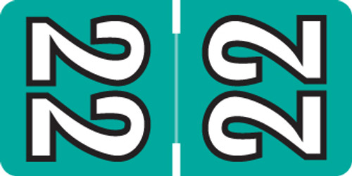 """2022 Labels for Top Tab Application - Teal - 1/2"""" H x 1"""" W - Labels on Sheets- PK 250"""