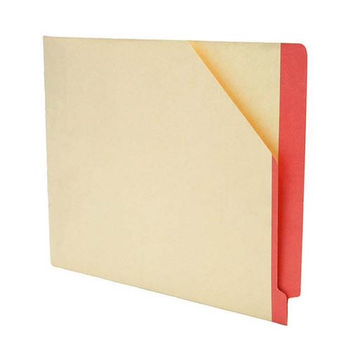 """Manila Pockets with RED Color Stripe - Closed on 2 Sides - Letter Size 11-3/4"""" W x 9-1/2"""" H -100/Box"""