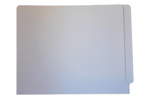 WHITE End Tab File Folder w/ Fastener in  Position 1 - Letter  Size - 11 pt White Stock  - Reinforced Full End Tab - 50/Box