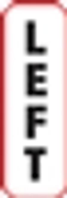 Left Vertical Label - Non-Laminted - Black Print W/ Red Border