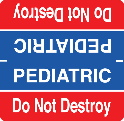 Pediatrics Label - Red and Blue with White Print