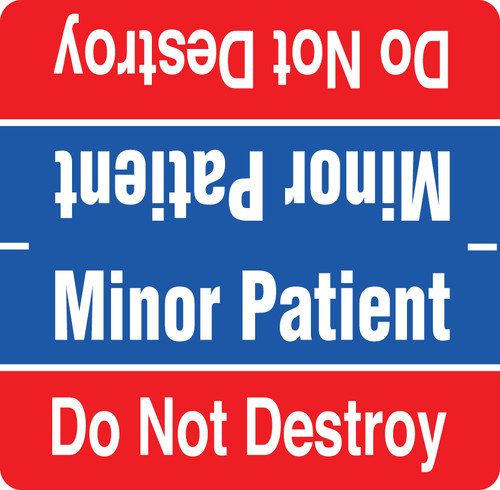 Minor Patient Label - Red and Blue with White Print