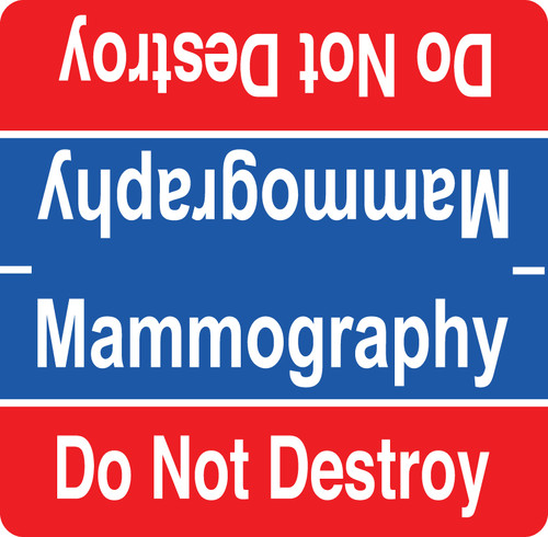 Mammography Label - Red and Blue with White Print