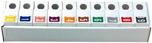 VRE/GBS Numeric Label - 8860 Series (Rolls) - 0-9 Set with tray