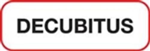 Decubitus Label - Non-Laminted - Black Print W/ Red Border