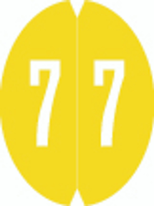 VRE/GBS Numeric Label - 8857 Series (Rolls) - 7 - Yellow