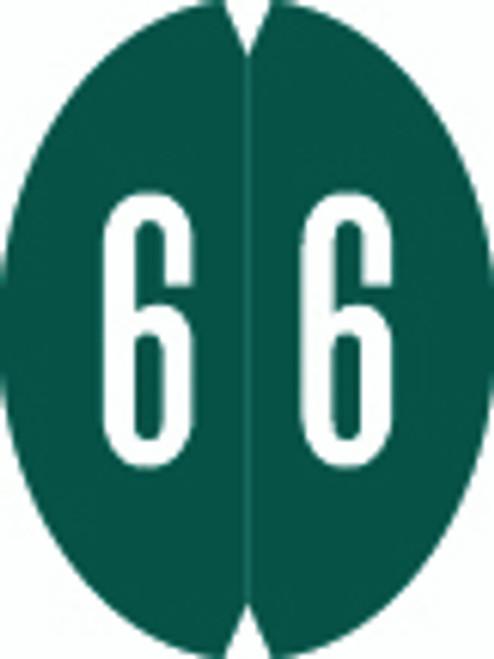 VRE/GBS Numeric Label - 8857 Series (Rolls) - 6 - Dk. Green