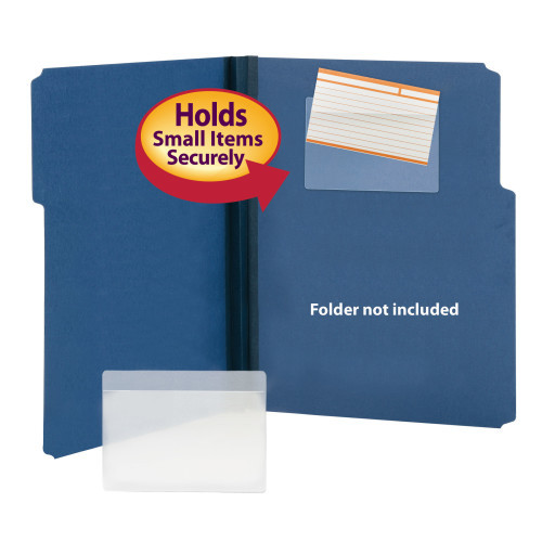 "Smead Self-Adhesive Poly Pocket, Index Card Size (5-5/16"" W x 3-5/8"" H), Clear, 100 per Box (68153)"