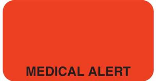 "Medical Alert 1-5/8""x7/8"" Fl-Red"