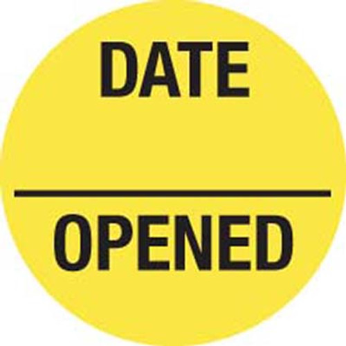 """Date Opened"" Inventory Control Label - Round 3/4"" Diameter - Fluorescent Yellow - 570/Roll"