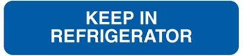 """Keep In Refrigerator"" Veterinary Medication Instruction Label 1-5/8""W x 3/8""H - Blue - 500/Roll"