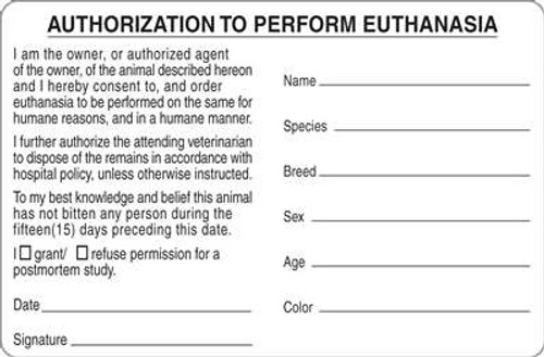 """Authorization Euthanasia 4""""x2-5/8"""" White"""