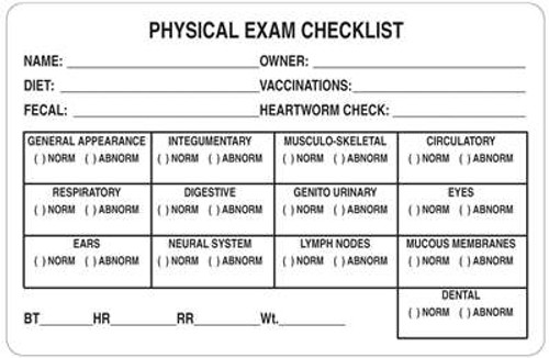 """Veterinary Physical Exam Checklist Label - 4""""W x 2-5/8""""H -  White - 240/Roll"""