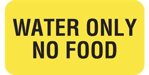 "Water Only No Food 1-5/8""x7/8"" Fl-Yellow"