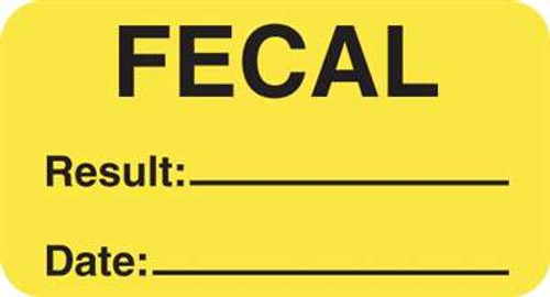 "Fecal Result Date 1-5/8""x7/8"" Fl-Yellow"