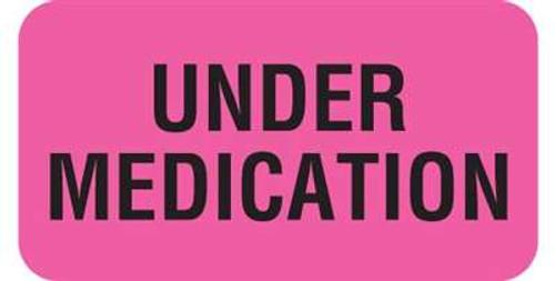 "Veterinary Label  ""Under Medication"" -  1-5/8""W x 7/8""H -  Fl-Pink - 560/Roll"