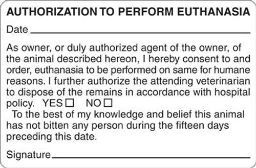 "Authorization Euthanasia 4""x2-5/8"" White 1"
