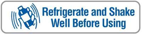 """Refrigerate & Shake Well Before Using"" Veterinary Label -  1-5/8"" W x 3/8""H - White/Blue - 500/Roll"