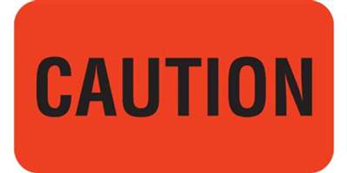 """Veterinary """"Caution"""" Label  - Fl. Red - 1-5/8"""" W x 7/8"""" H  - 560/Roll"""