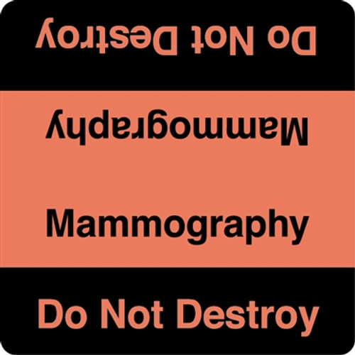 """Mammography - Do Not Destroy"" Label - Fl. Red/Black"