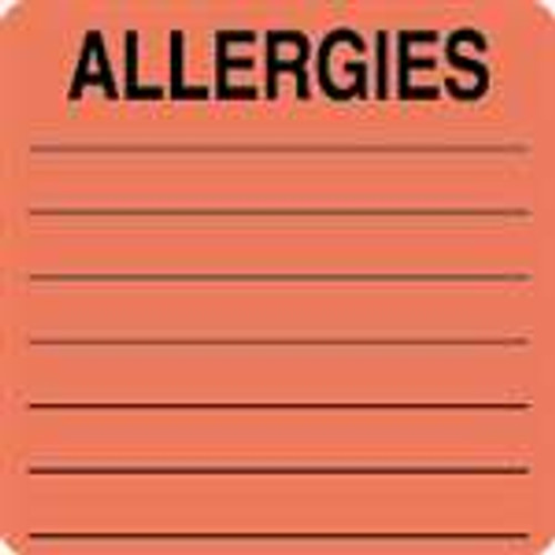 """Allergies"" Label - 2-1/2"" x 2-1/2"" - Fl. Red - 390/Box"