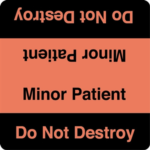 """Minor Patient - Do Not Destroy"" Label - Fl. Red/Black"