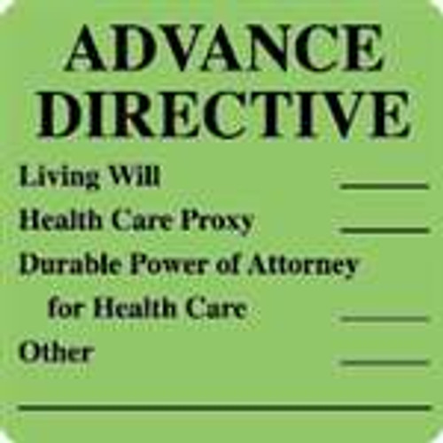 """Advance Directive"" Label - Green - 2-1/2"" x 2-1/2"" - 390 Labels/Box"