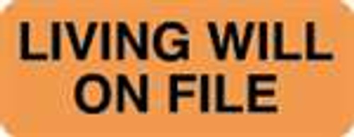 """Living Will On File"" Label - Orange - 2-1/4"" x 7/8"" - 420 Labels/Box"