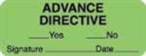 "Advance Directive Label - Fl. Green - 2-1/4"" x 7/8"" - 420/Box"