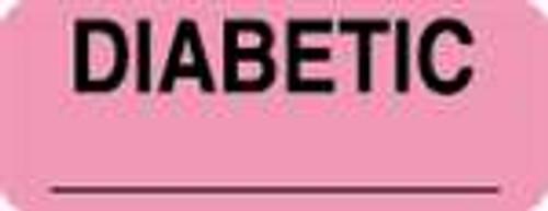 """""""Diabetic"""" Label - Fl. Pink - 2-1/4"""" x 7/8"""" - 420/Box"""