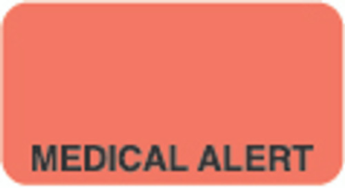 """Medical Alert"" Label - Fl. Red - 1-5/8"" x 7/8"" - 500 Labels/Box"