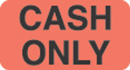 """Cash Only"" Label- Fl. Chartreuse - 1 1/2"" x 7/8"" - Box of 250"