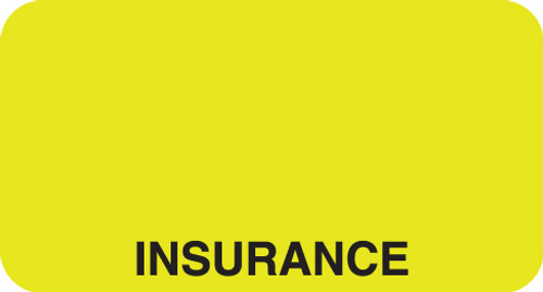 """Insurance"" Label - Fl. Chartreuse - 1 5/8"" x 7/8"" - Box of 500"