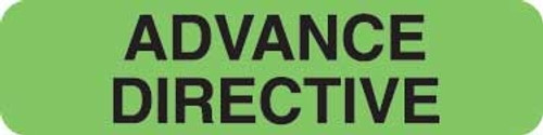 """Advance Directive"" Label - Fl. Green - 1-1/4"" x 5/16"" - 500 Labels/Box"