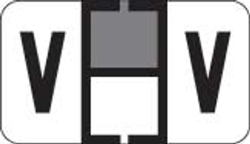 Traco Alphabetic Labels - TRAM Series (Rolls) - V - Gray & Black