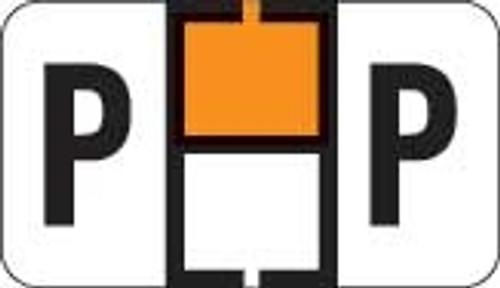 Traco Alphabetic Labels - TRAM Series (Rolls) - P - Orange & Black